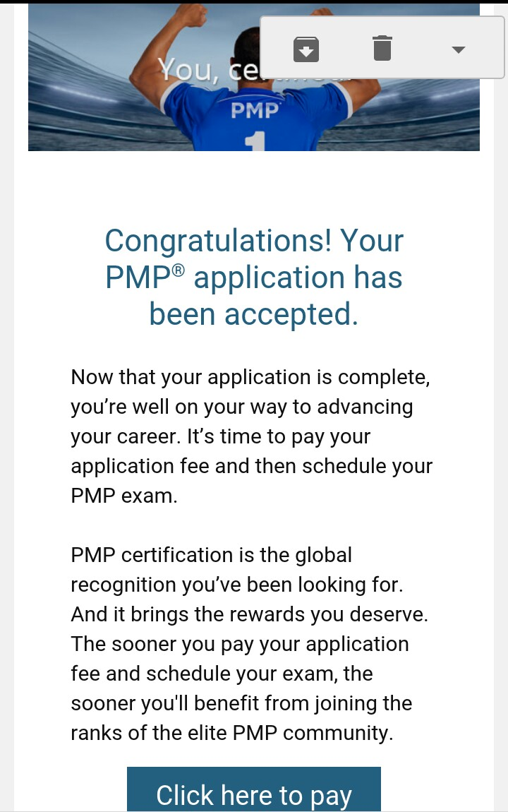 I Just Received My Pmp Application Acceptance Mail